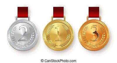 Vector gold, silver and bronze medals with red ribbons isolated on white background.