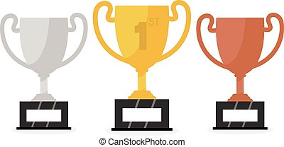 Vector gold, silver and bronze winners cup. Vector