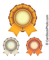 gold silver bronze award ribbons bow