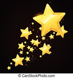 Vector gold star black background design