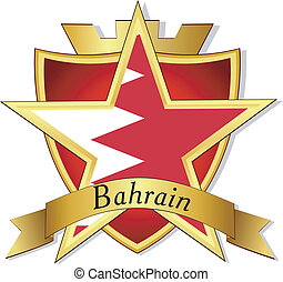Vector gold star to the flag of  Bahrain on the background of the shield