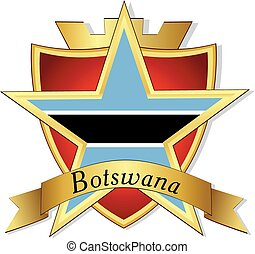 Vector gold star to the flag of Botswana  on the background of the shield
