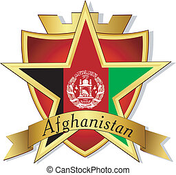 Vector gold star to the flag of  Afghanistan  on the background of the shield