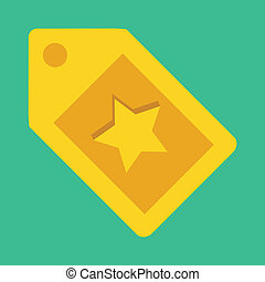 Vector Gold Tag with Star Sign Icon