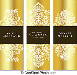 Vector Gold Three Frame Set. Easy to edit. Perfect for invitations or announcements.