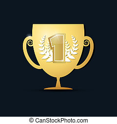 Vector Gold Trophy Cup on Dark Background