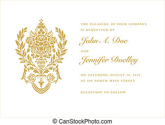 Vector Gold Vase Frame and Text - Vector ornate gold...