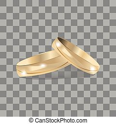 Vector Gold Wedding Rings Illustration, Icons, Button, Sign, Symbol, Logo with Sticker for Family, Celebration, Lovers, People