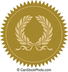Vector Gold Wreath Seal - Detailed gold seal, very easy to ...