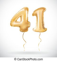 vector Golden 41 number forty one metallic balloon. Party...