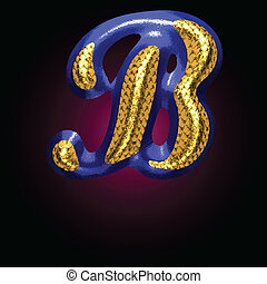 vector golden and blue letter b