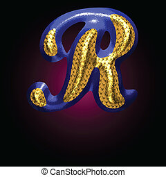 vector golden and blue letter r