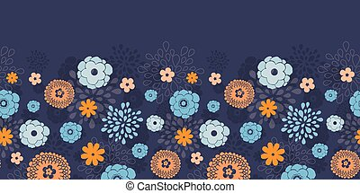 Vector golden and blue night flowers horizontal border seamless pattern background