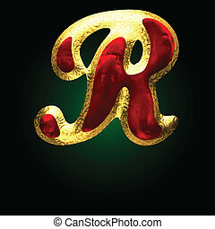 vector golden and red letter r