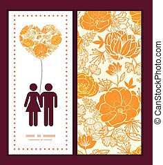 Vector golden art flowers couple in love silhouettes frame pattern invitation greeting card template