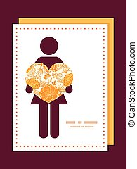 Vector golden art flowers woman in love silhouette frame pattern invitation greeting card template