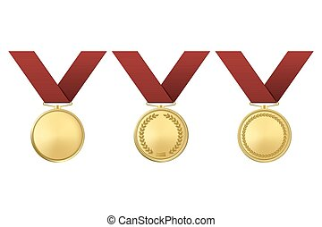 Vector golden award medals set isolated on white background.
