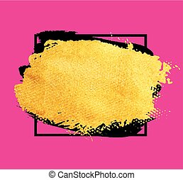 Vector golden brush stroke banner. Watercolor texture paint stain isolated on pink. Abstract hand painted golden background for greeting, gift, wedding, birthday card.