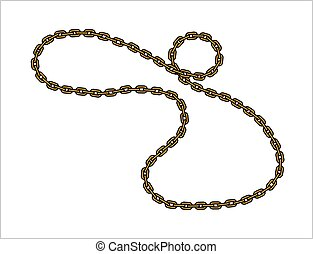 Vector Golden Chain, Isolated on white background.
