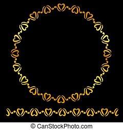 Vector Golden Circle Floral Frame, at black background