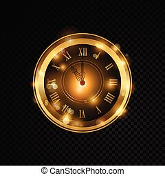 Vector golden clock isolated on transparent background -...