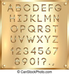 Vector golden coated alphabet letters, digits and punctuation on gold background