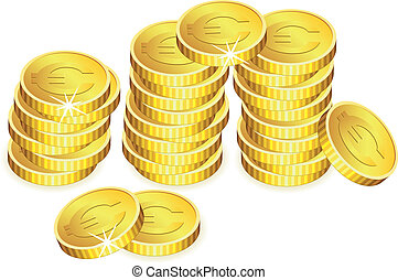 vector golden coins with sparkles