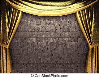 vector golden curtain background