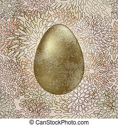 vector golden easter egg on seamless floral spring retro...