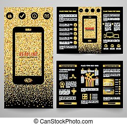 Vector golden elegant business brochure design