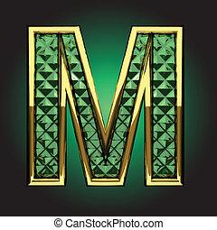 Vector golden figure with emerald - golden figure with...