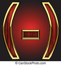 Vector golden figure with red wood