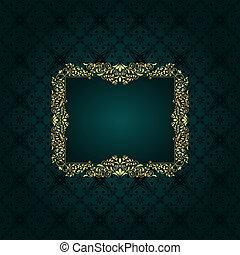 Vector golden floral frame on seamless  vintage floral pattern