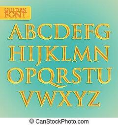 vector golden font