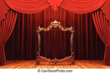 vector golden frame and rev curtain stage
