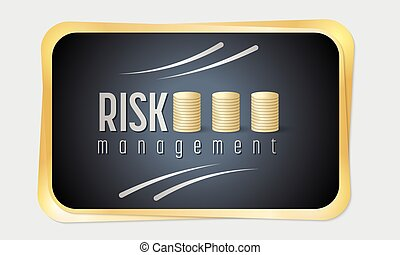 Vector golden frame and risk management icon