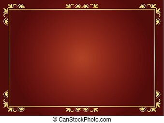 vector golden frame on brown background