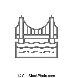 Golden Gate Bridge, San Francisco, USA line icon.
