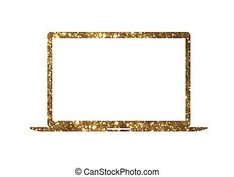 Vector golden glitter gold color flat laptop computer icon