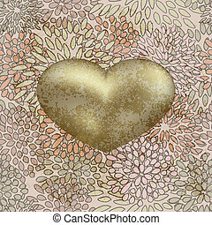 vector golden heart on  seamless floral background on grunge background