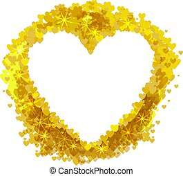 Vector Golden Heart Shape Frame, Wedding Border, Greeting Card, Isolated Illustration.