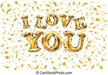 vector Golden I love you sign. background. balloon Gold love word with confetti border and swashes on white.
