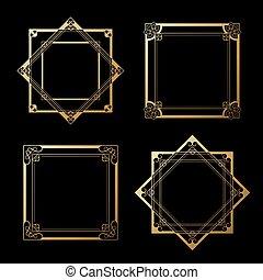 Vector golden labels on black background. Square and star frames. Decorative border.