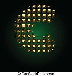 vector golden letter c