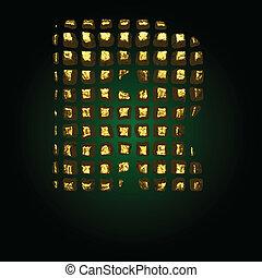 vector golden letter r