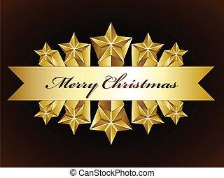 vector golden merry christmas stars label