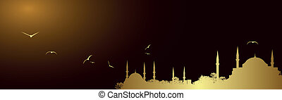 Vector golden mosque