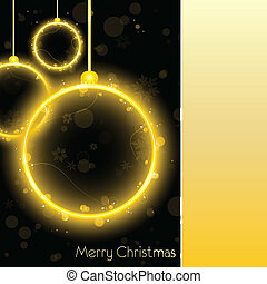 Golden Neon Christmas Ball Card on Black Background