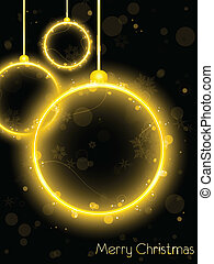 Golden Neon Christmas Ball on Black Background