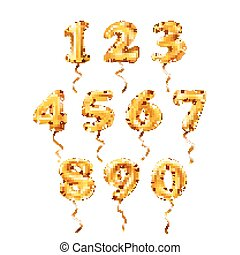 vector Golden number 1, 2, 3, 4, 5, 6, 7, 8, 9, 0 metallic balloon. Party decoration golden balloons. Anniversary sign for happy holiday, celebration, birthday, carnival, new year.